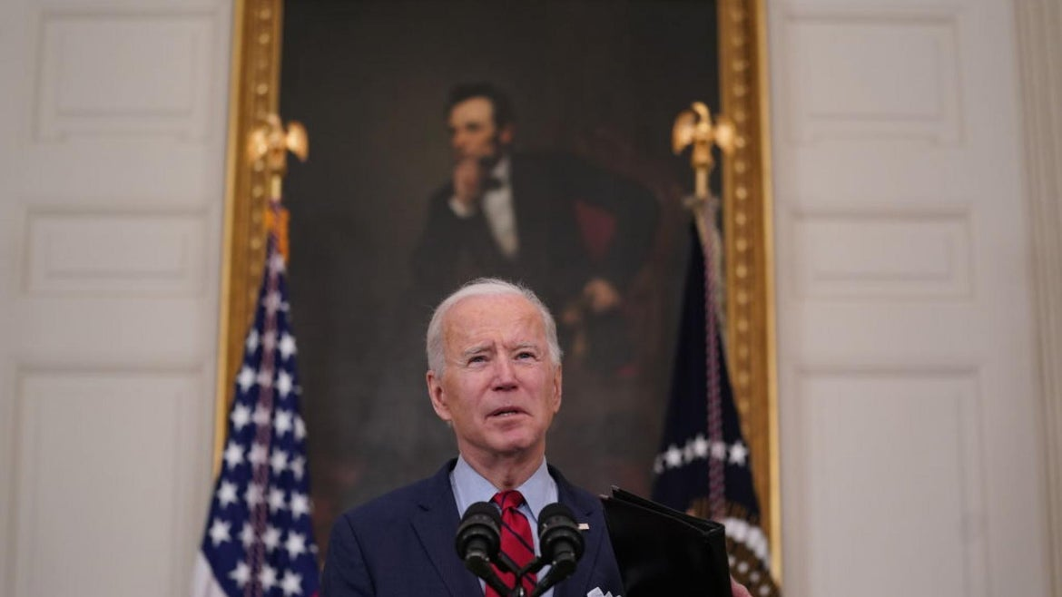U.S. President Joe Biden speaks in the State Dining Room of the White House in Washington, D.C., on Tuesday, March 23, 2021
