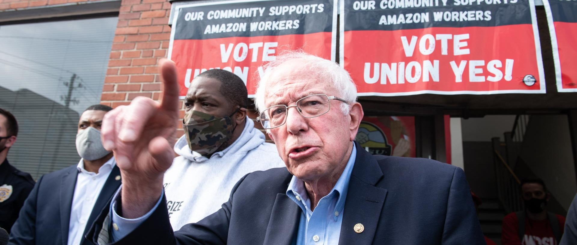 Senator Bernie Sanders, an independent from Vermont, center, speaks outside the Retail, Wholesale and Department Store Union (RWDSU) headquarters in Birmingham, Alabama, U.S., on Friday, March 26, 2021.