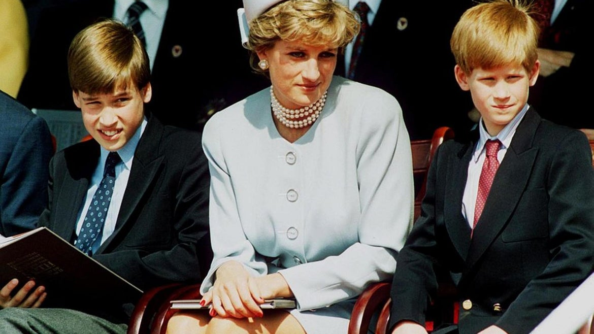 Princess Diana, Princess of Wales with her sons Prince William and Prince Harry attend the Heads of State VE Remembrance Service in Hyde Park on May 7, 1995 in London