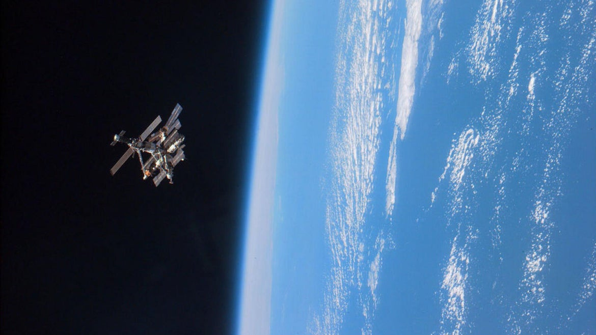 A satellite floating above Earth