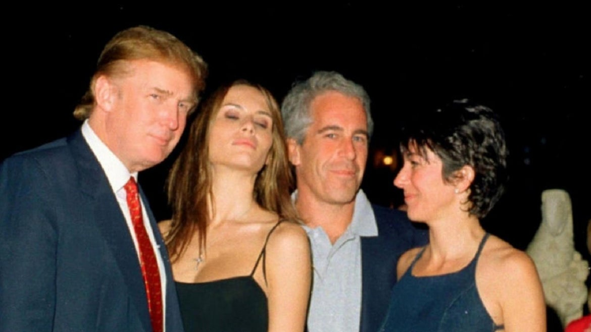 Ghislaine Maxell with Epstein and Melania and Donald Trump.