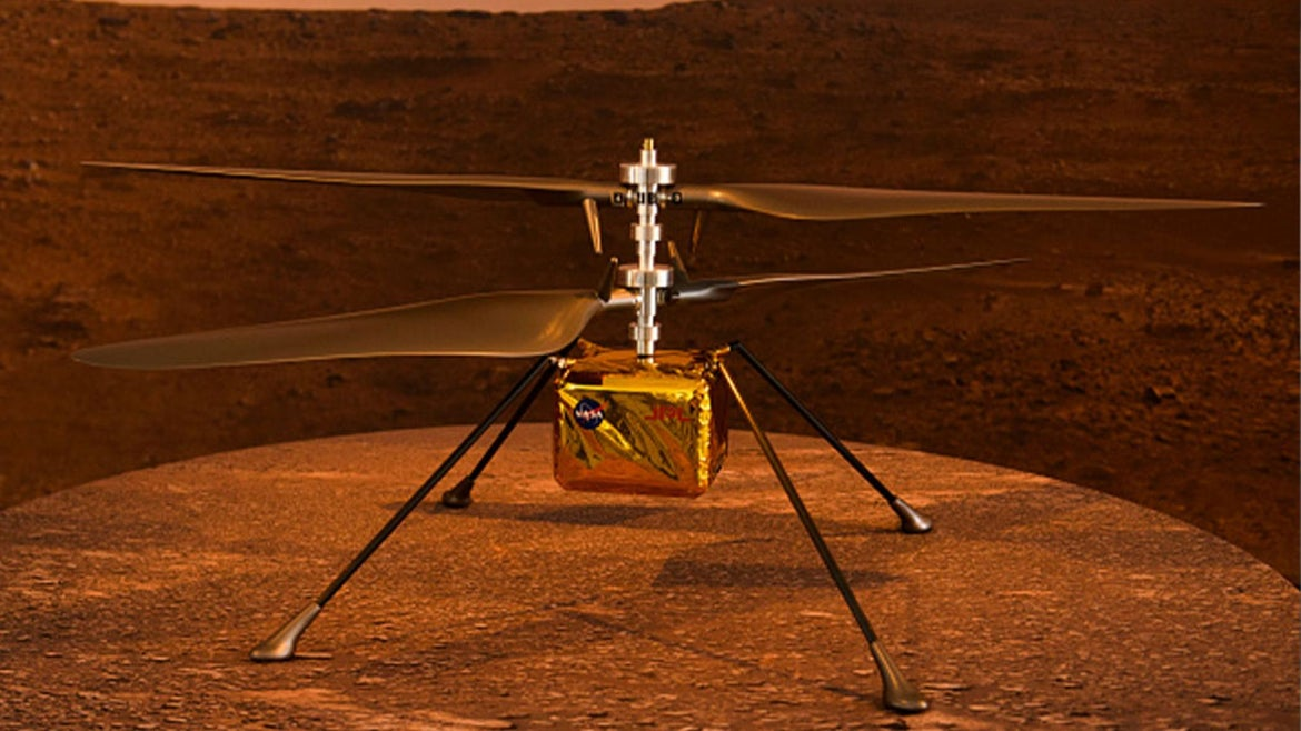 A full scale model of the experimental Ingenuity Mars Helicopter, which will be carried under the Mars 2020 Perseverance rover.