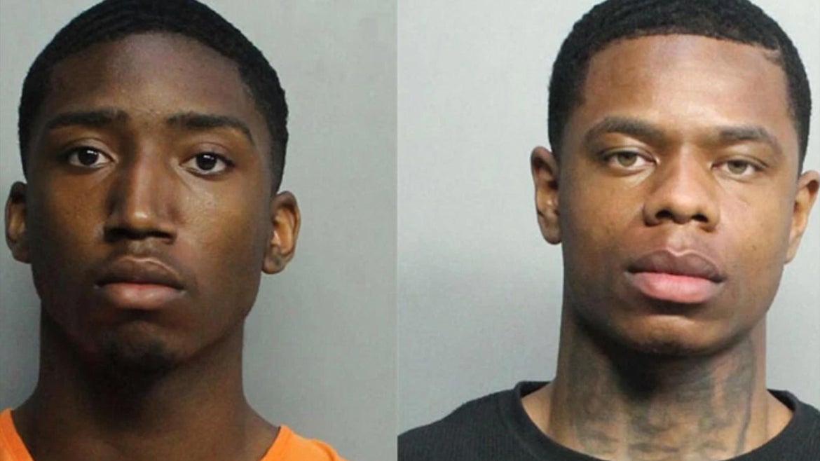 Evoire Collier, 21, and Dorian Taylor, 24, who both traveled from their homes in Greensboro North Carolina, were arrested and charged with petty theft, burglary with battery, sexual battery, and credit card fraud