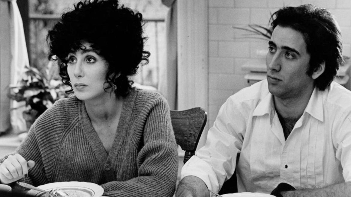 Cher and Nicolas Cage in Moonstruck, a sophisticated romantic comedy