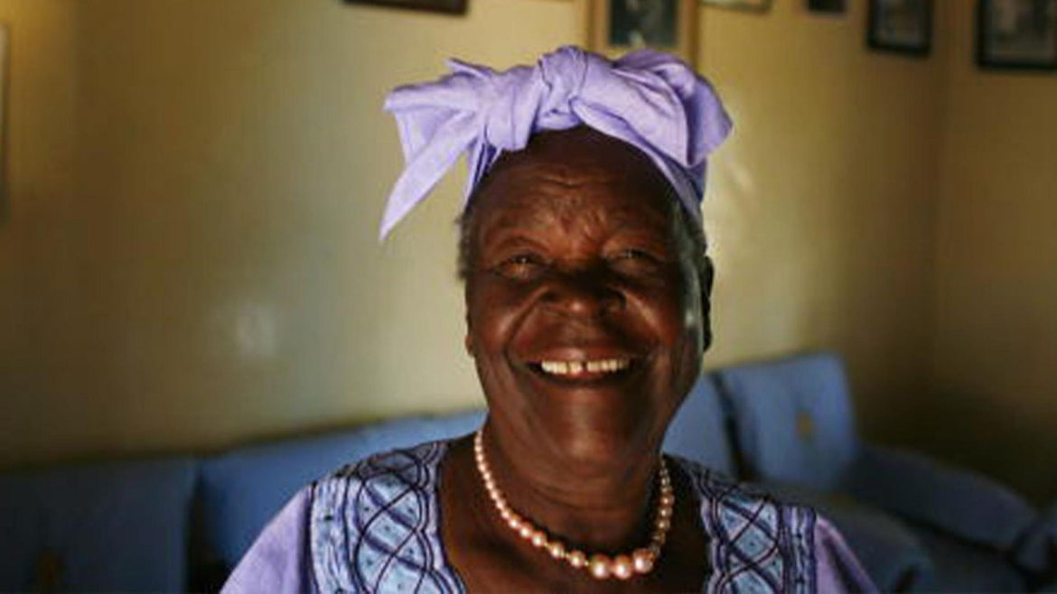 Sarah Hussein Obama, 86, the grandmother of US Presidential candidate Barack Obama, poses in her home awaiting the results of Super Tuesday's primary February 5, 2008 in Kogelo, Kenya.