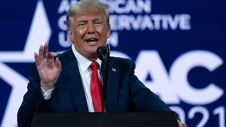 Donald Trump addresses crowd at recent presser.