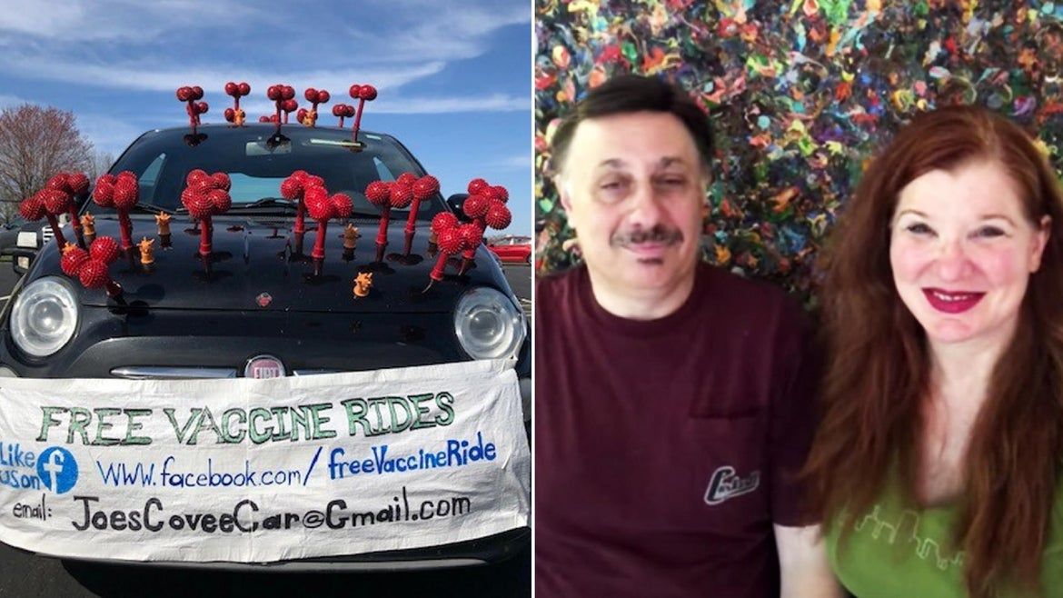 Joe Cicchetti and Shirley Limburg have transformed their own Fiat for the occasion.