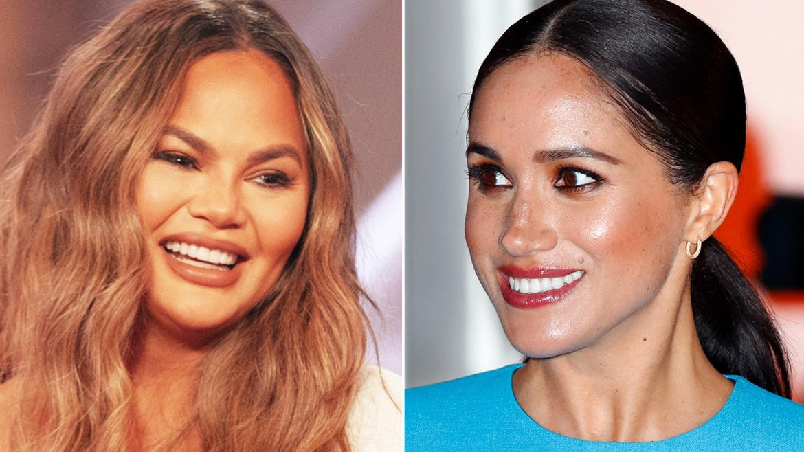 Chrissy Teigen (left) said that after she lost her son Jack in a miscarriage, Meghan Markle (right) reached out to her.