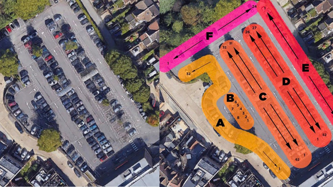 Images of Gareth Wild's parking lot and colorful graphics.