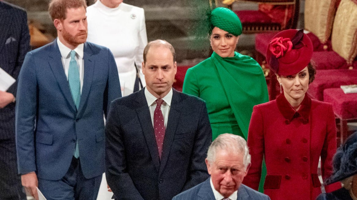 ritain's Prince Harry, Duke of Sussex (L) and Britain's Meghan, Duchess of Sussex (2nd R) follow Britain's Prince William, Duke of Cambridge (C) and Britain's Catherine, Duchess of Cambridge (R