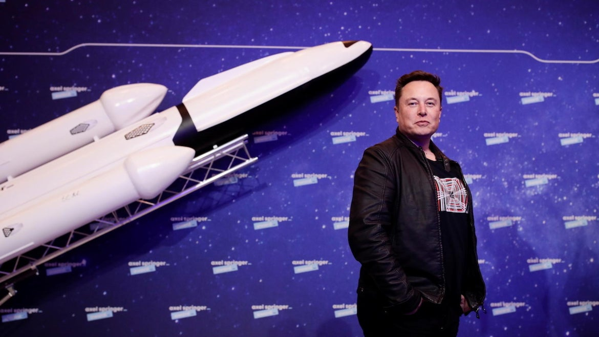 SpaceX owner and Tesla CEO Elon Musk arrives on the red carpet for the Axel Springer Awards ceremony