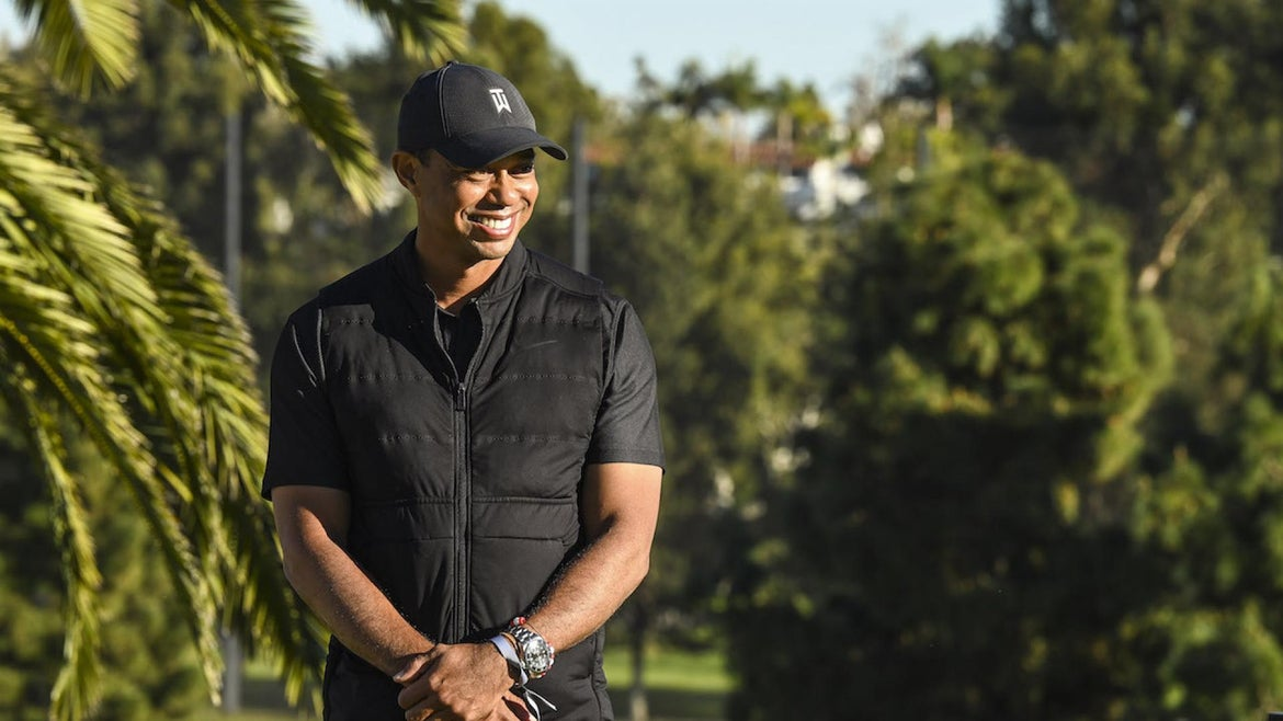 Tiger Woods smiles during the final round of The Genesis Invitational at Riviera Country Club on February 21, 2021