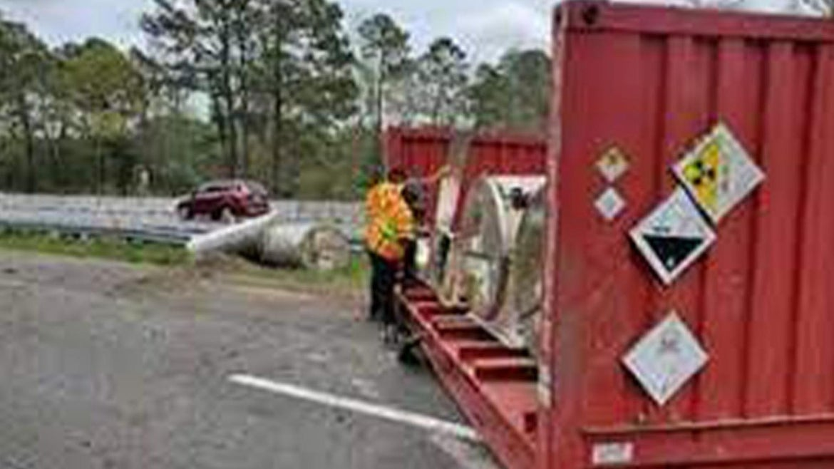 Containers that fell off the tractor-trailer during crash on I-95.