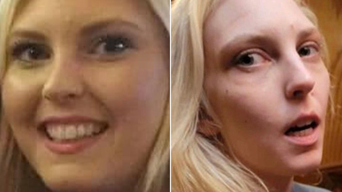 Taylor Pomaski, 29, pictured on left in a handout from her family and on the right in a photo released by police, was last seen on or around April 25