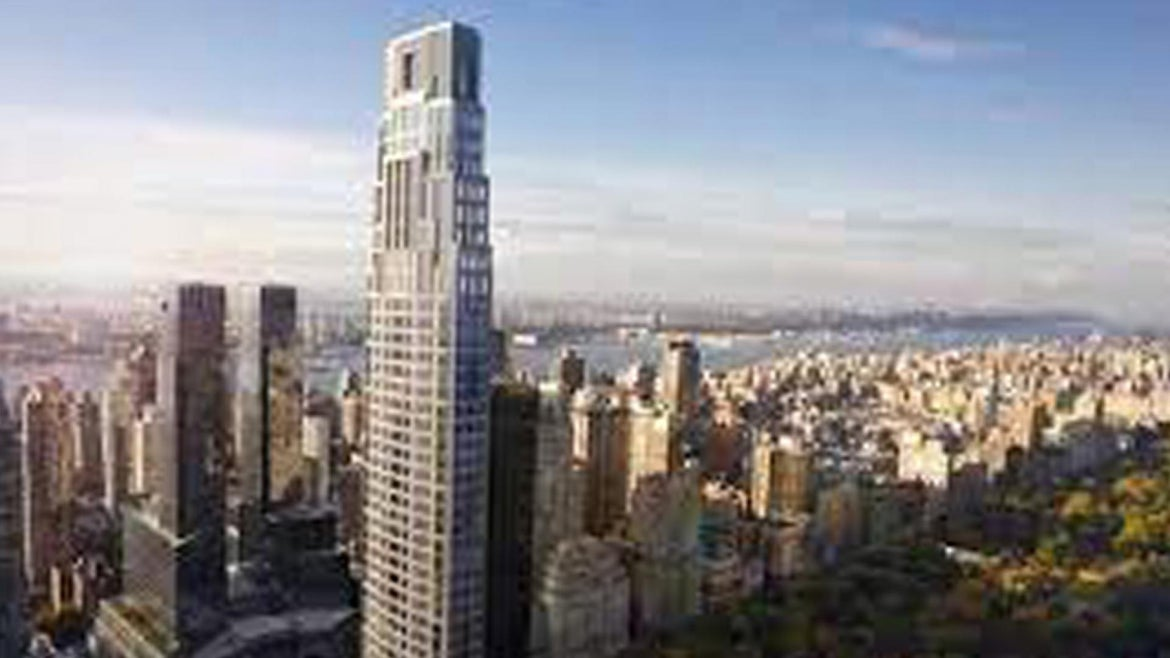Exterior views of 220 Central Park South with stunning views.