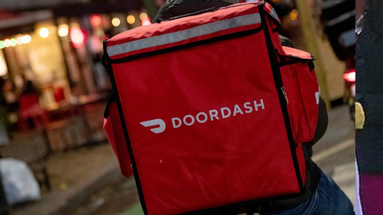 Doordash delivery driver travels on bike.