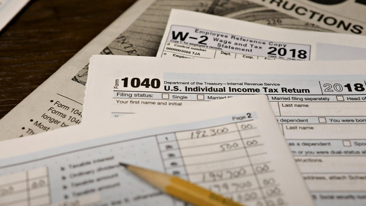 Stock image of IRS forms.