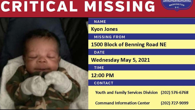 Missing newborn Kyon Jones last seen Wednesday, May 5, 2021.