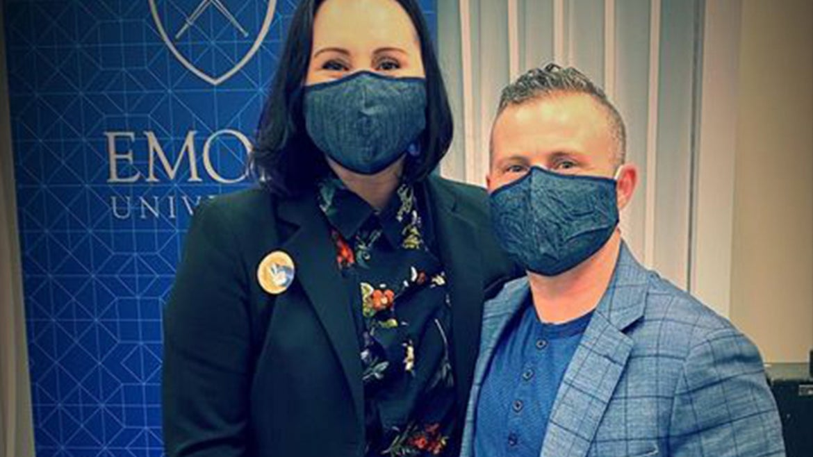Preston Lee and his spouse masked at the White House
