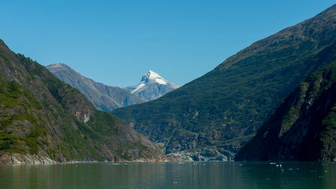 View of the north arm of Tracy Arm, a fjord in Alaska near Juneau, Tongass National Forest, Alaska, USA.
