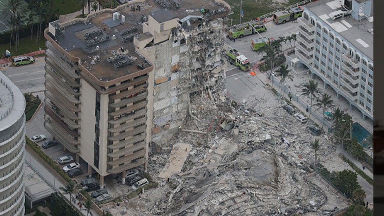 Beach-side condo near Miami in Surfside, Florida partially collapses.