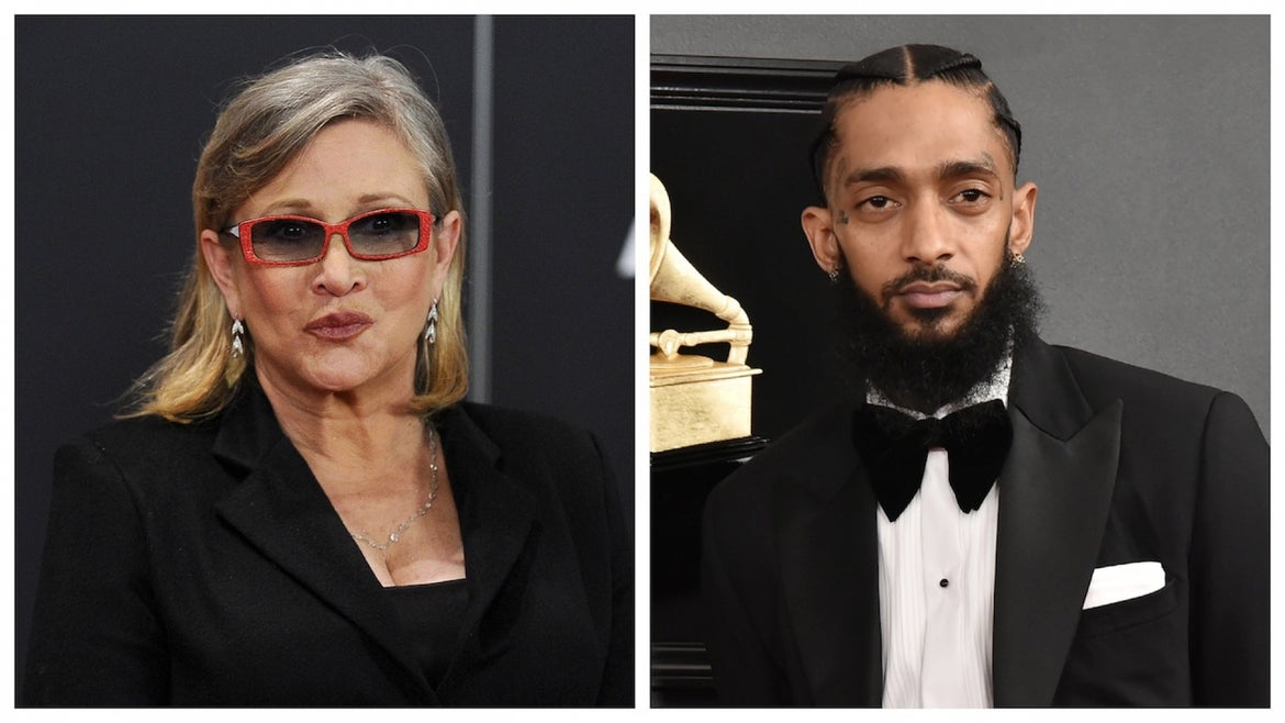 Actress Carrie Fisher attends the 7th annual Governors Awards at The Ray Dolby Ballroom at Hollywood & Highland Center on November 14, 2015 in Hollywood, California. Nipsey Hussle attends the 61st Annual Grammy Awards at Staples Center on February 10, 2019 in Los Angeles, California.