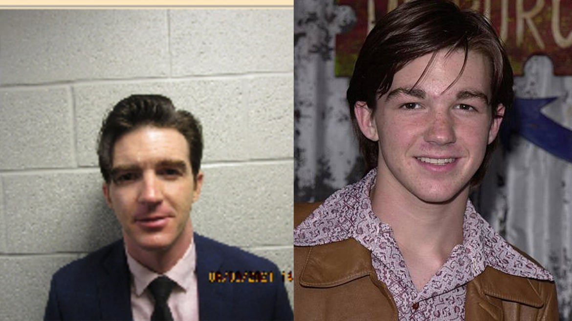 Side by side photo of Drake Bell during his hearing and when he was a child