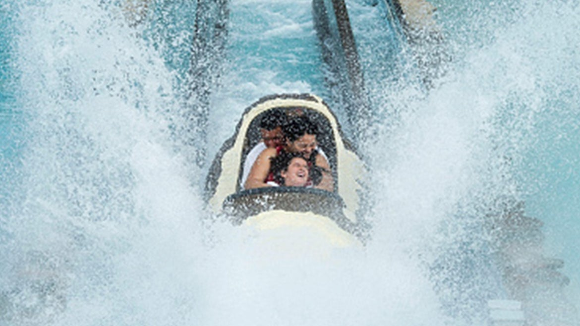 Saw Mill Log Flume Ride at Six Flags Great Adventure Theme Park.