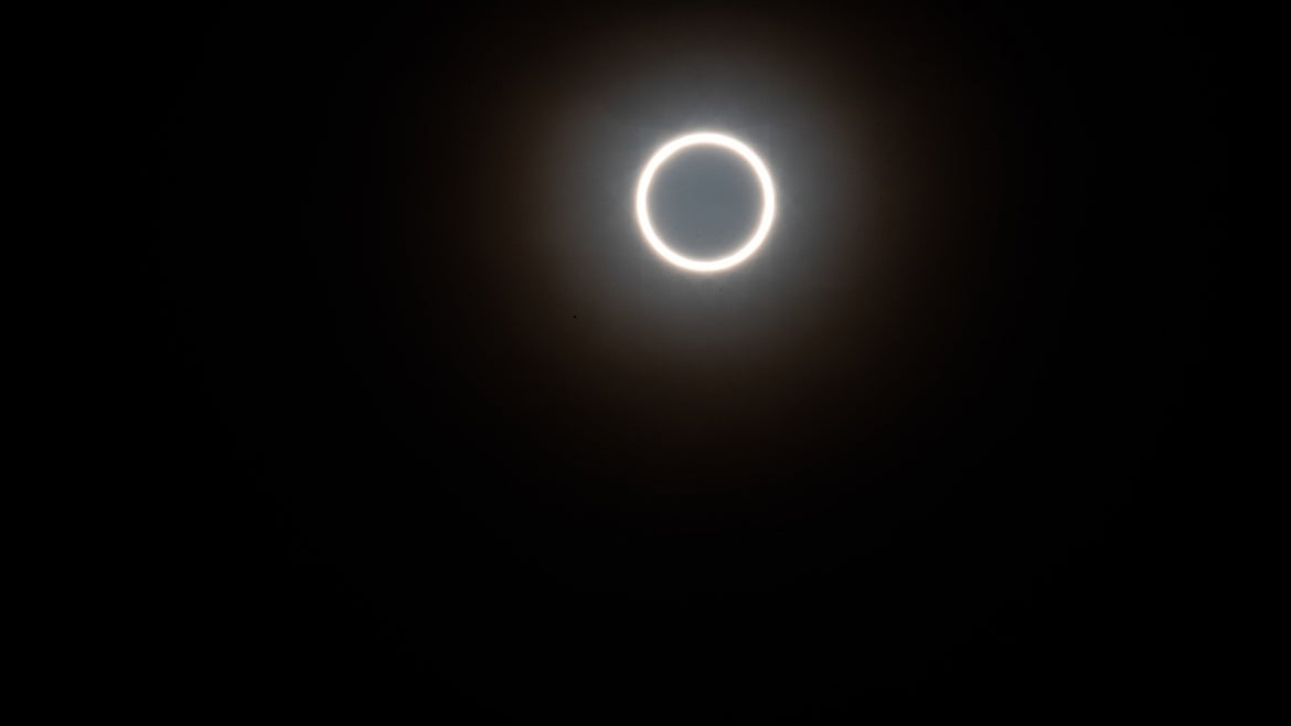 An annular eclipse of the sun, photographed on the rooftop of the tallest hotel in kulangsu, Xiamen City, Fujian Province, China, June 21, 2020.
