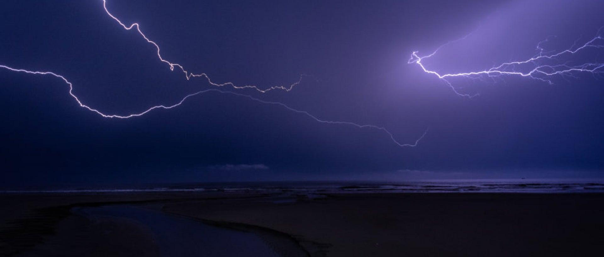 Lightning strike over ocean