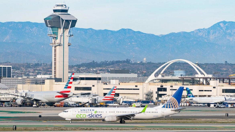United Eco-Skies Boeing 737-924ER arrives at Los Angeles international Airport on January 13, 2021 in Los Angeles, California