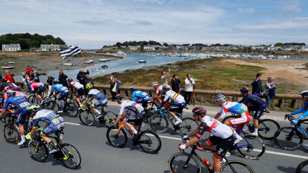Group of cyclists during second stage of Tour de France 2021