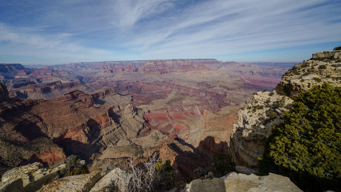 View from Navajo Point at the south rim of the Grand Canyon on January 10, 2021 in Grand Canyon Village, Arizona