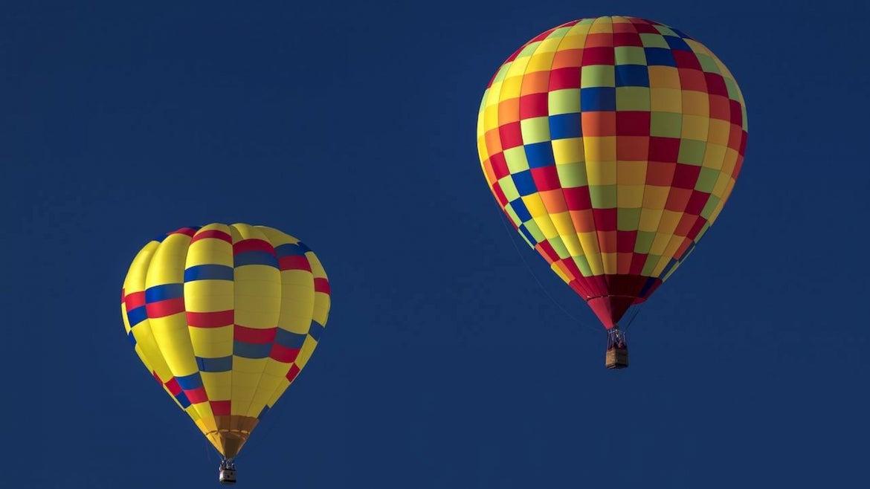 Albuquerque, New Mexico, Colorful Hot Air Balloons at the Albuquerque Balloon Fiesta.