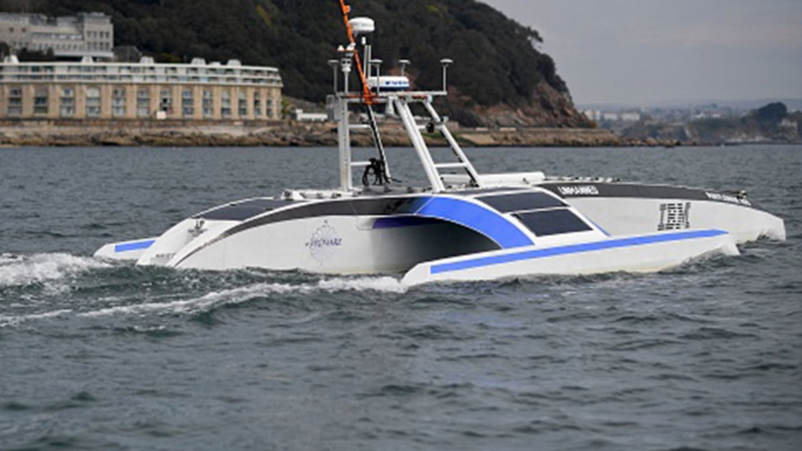 The Mayflower 400 autonomous trimaran is pictured during a sea trial in Plymouth, south west England on April 27, 2021.