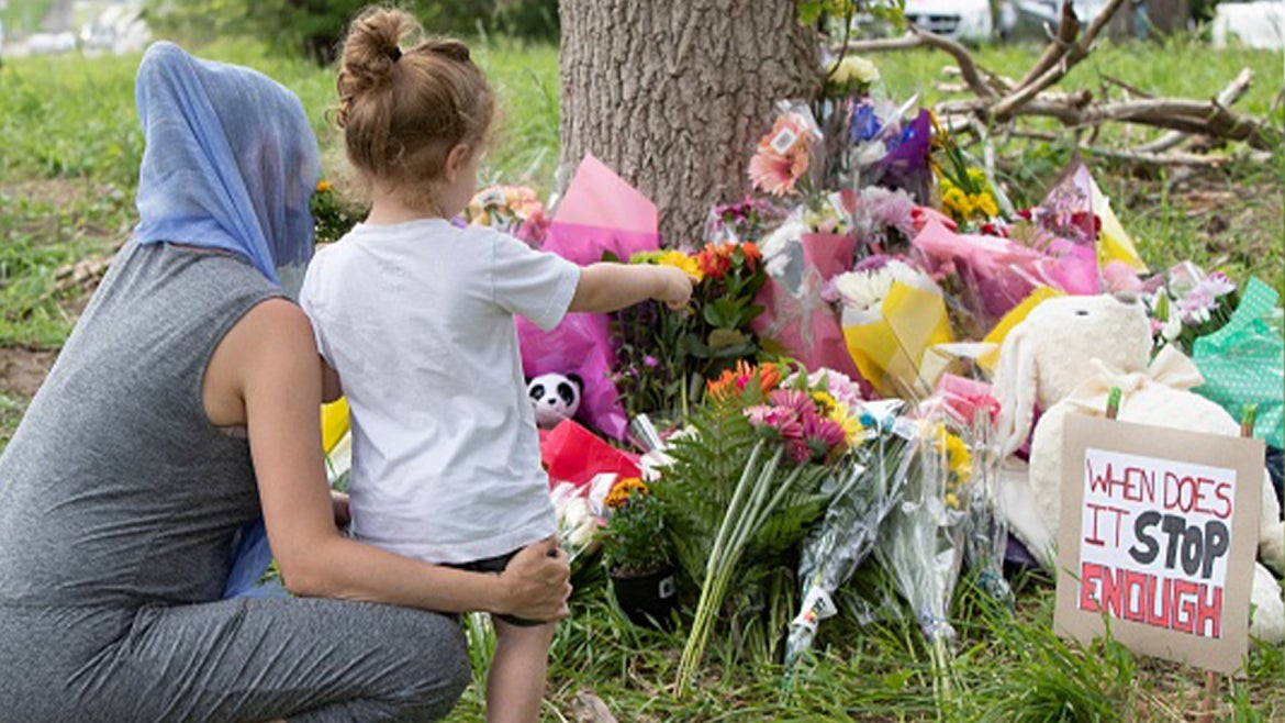 Makeshift memorial for victims of Monday's crash where driver mowed down Muslim family of 5.