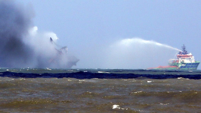 Burning cargo vessel in Sri Lanka.