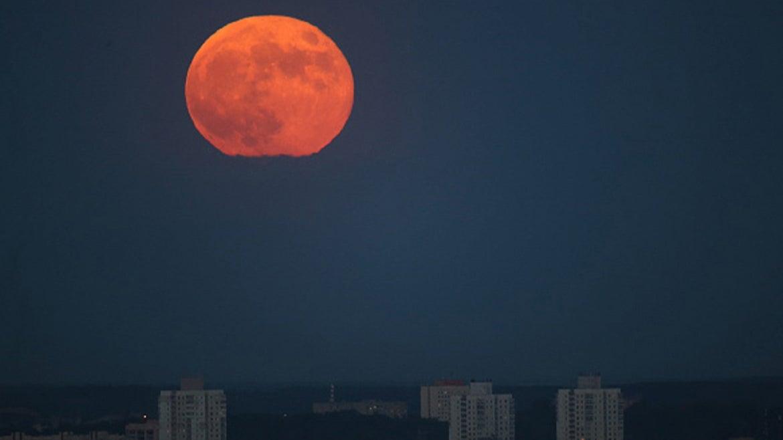 Super moon is seen over Minsk, Belarus on May 26, 2021.