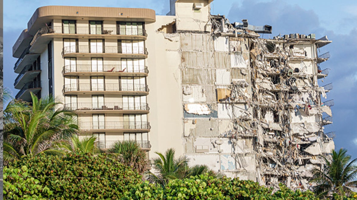 An exterior image of Champlain Towers partial building collapse.