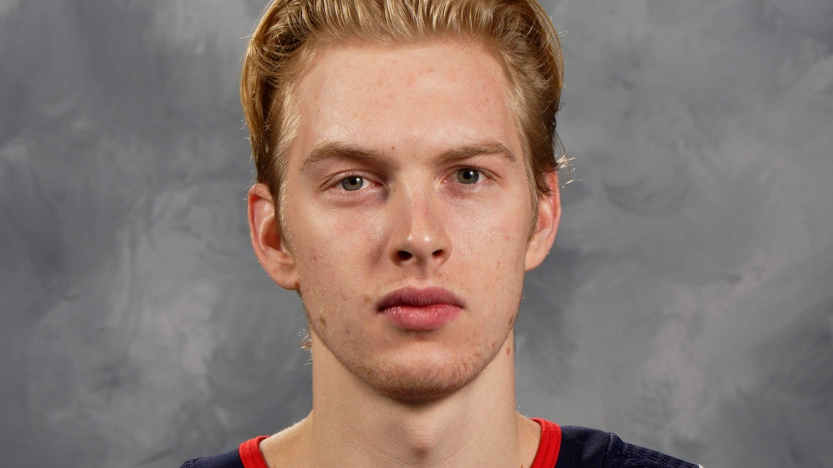 Matiss Kivlenieks, #80 of the Columbus Blue Jackets, poses for his official headshot for the 2020-2021 season on January 3, 2021 at Nationwide Arena in Columbus, Ohio.