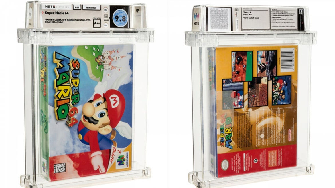 The unopened, pristine copy of Nintendo's Super Mario 64 was first released in 1996.