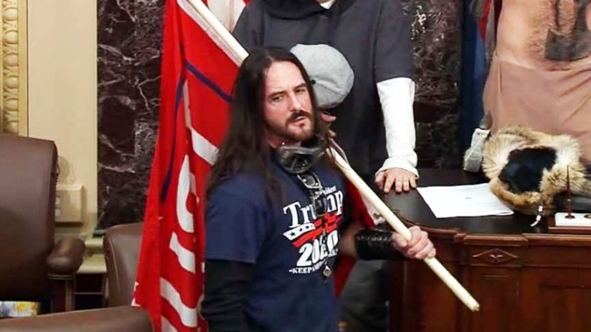 Paul Allerd Hodgkins, 38, was photographed inside the US Capitol on January 6.