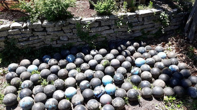 David Olson found 160 Brunswick bowling balls during home renovation project.