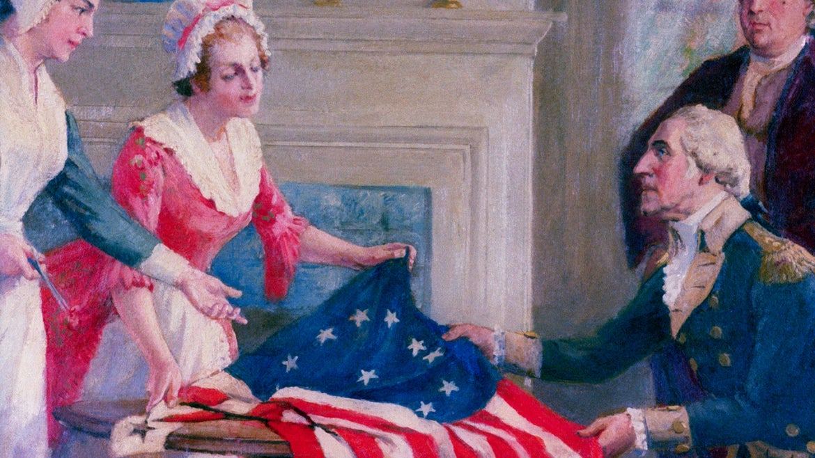 Detail of Betsy Ross and the First Stars and Stripes by John Ward Dunsmore.
