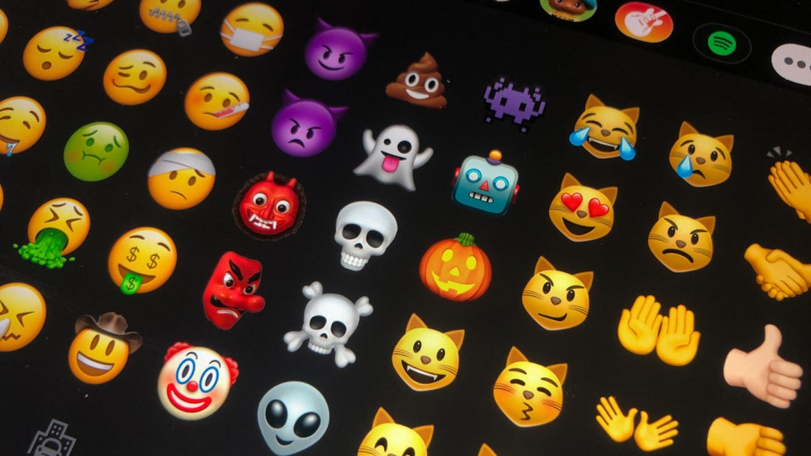 09 July 2020, Berlin: Different emojis are shown on a tablet. From meanwhile more than 3000 different Emojis you can find the right Emoji for almost every occasion.