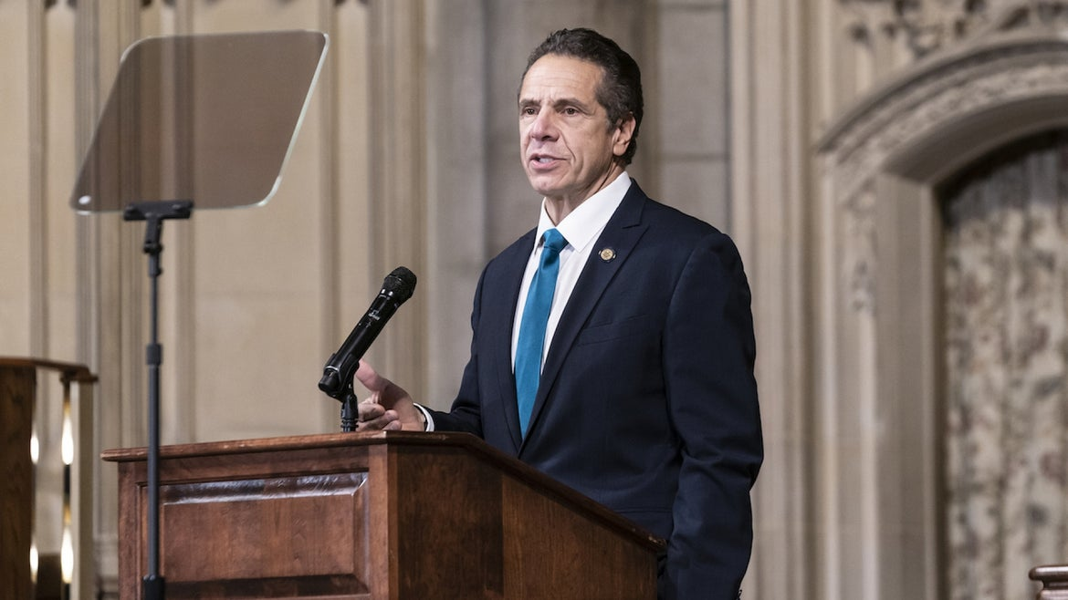 Governor Andrew Cuomo delivers remarks at Riverside Church during morning worship on the inequities in the Trump administration's vaccine distribution plan.