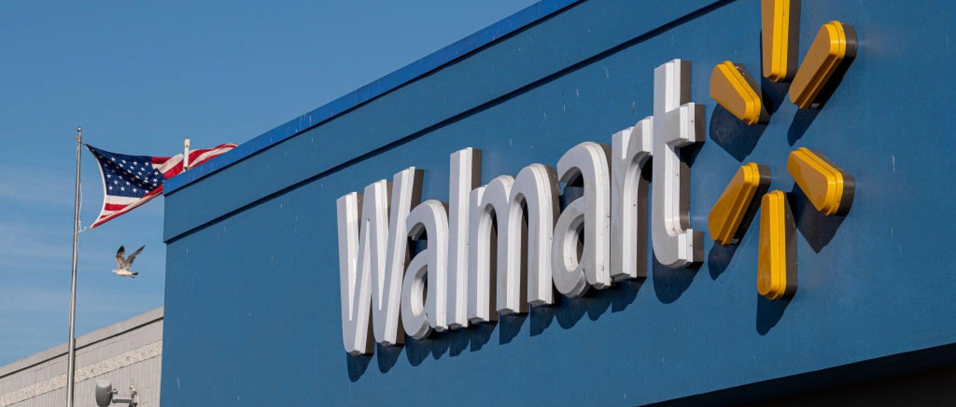 Up close shot of Walmart building sign