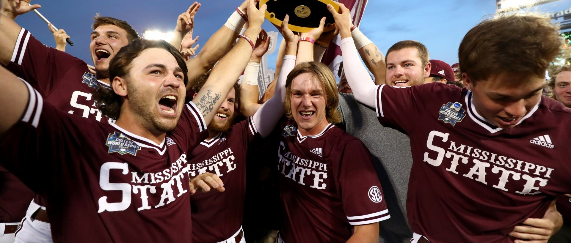 The Mississippi State Bulldogs celebrate their Division I Men's Baseball Championship win in Omaha, Nebraska.