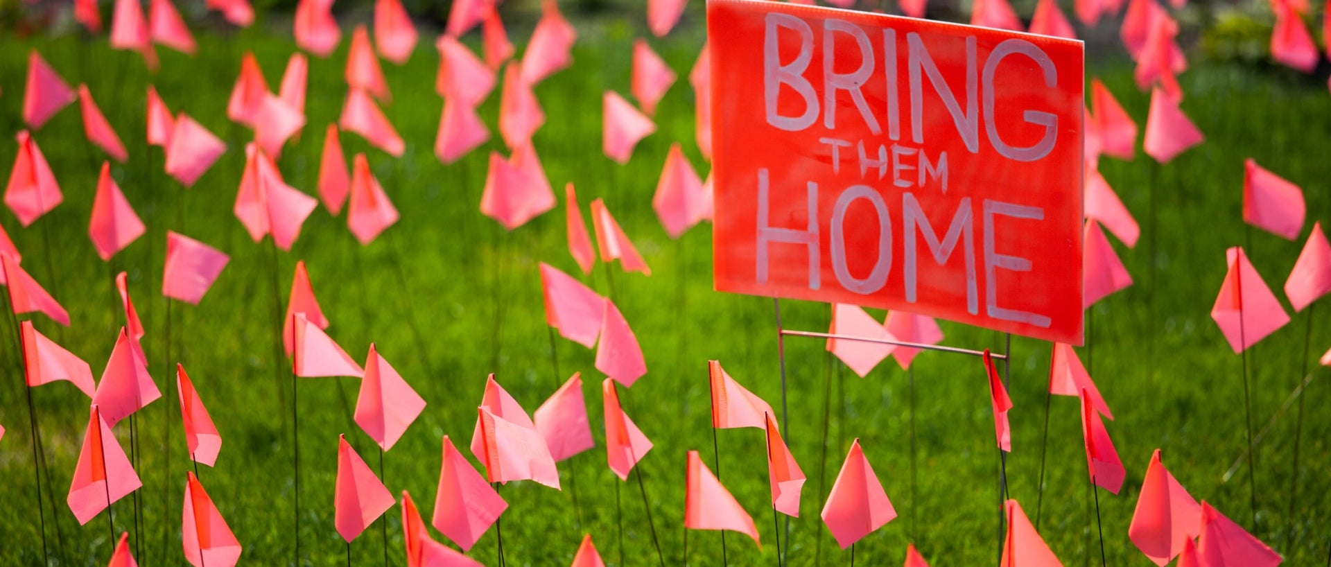 Miniature orange flags symbolizing missing Indigenous children were placed in front of the Manitoba legislature earlier this month as the country continues to mourn the discovery of mass graves on former residential school grounds.