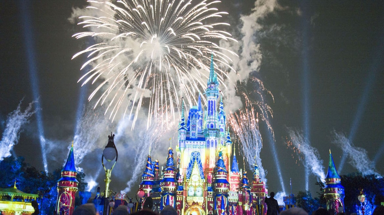A stunning firework show is held at the Magic Kingdom Park in Walt Disney World Resort on July 1, 2021 in Lake Buena Vista, Florida.